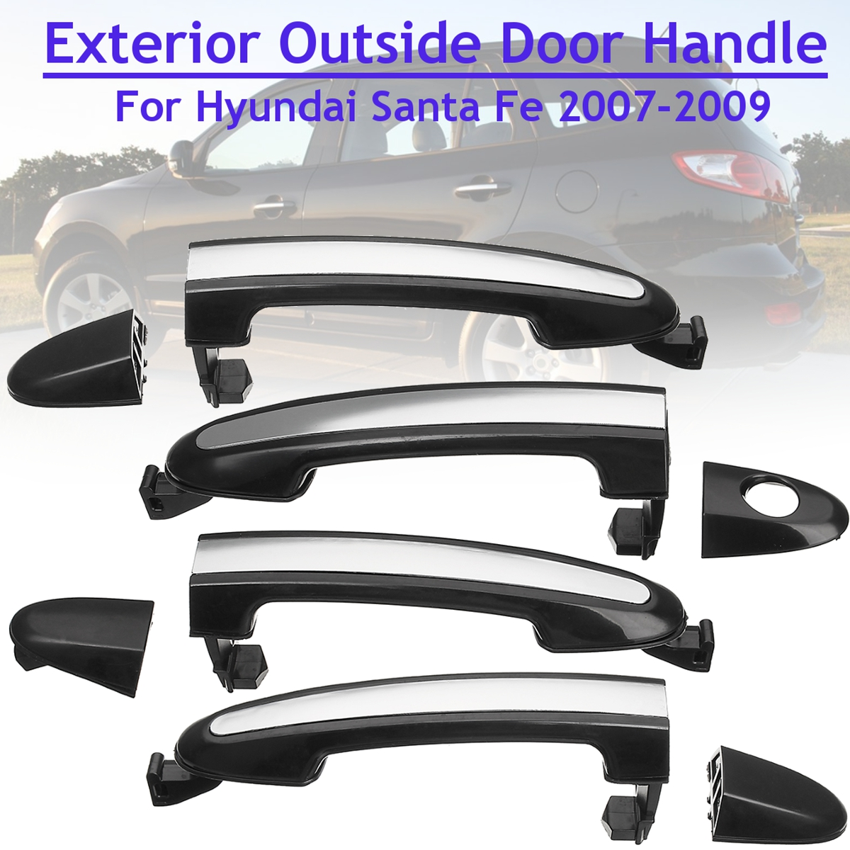 New ABS Chrome Front/Rear Left/Right Exterior Door Handle Cover trim For <font><b>Hyundai</b></font> <font><b>Santa</b></font> <font><b>Fe</b></font> 2007 2008 2009 <font><b>2010</b></font> 2011 2012 image