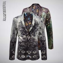 VAGUELETTE Elegant Peacock Print Blazer Men Luxury Men's Fas