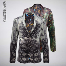 VAGUELETTE Elegant Peacock Print Blazer Men Luxury Men's Fashion Blazer