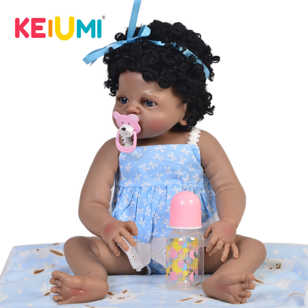 KEIUMI Lifelike 23 Inch Reborn Alive Dolls Full Silicone Body Realistic Baby Toy Doll Wear Blue