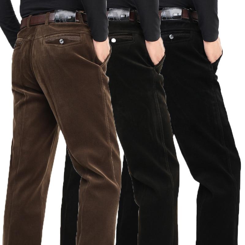 Elástico más terciopelo grueso PANA Pantalones pantalones ocasionales  flojos rectos hombres de mediana edad Pantalones invierno modelos artículo e9b7646aae751