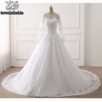 New Dubai Elegant Long Sleeves A Line Wedding Dresses Sheer Crew Neck Lace Appliques Beaded Vestios