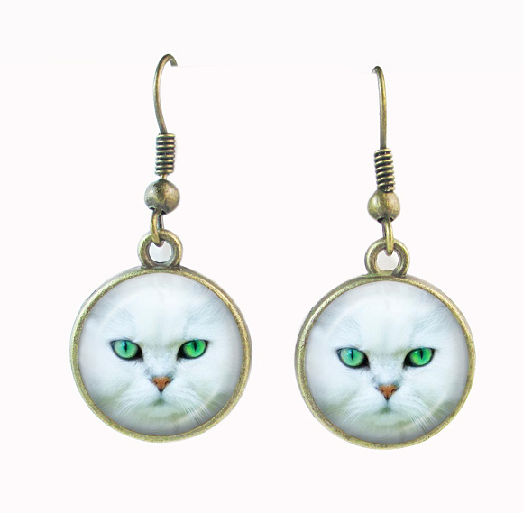 75a72deb65 White cat earring green cat eye photo jewelry antique bronze dangle  earrings for women glass cabochon round pendant kitty earing