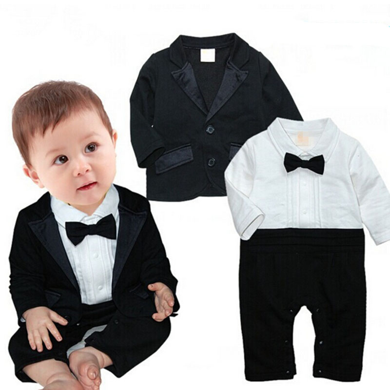 0-24 Months Handsome Baby Romper Boy Clothes Wedding Suits For Baby Boys Western-style Clothes With Bow Boy Overcoat Jacket