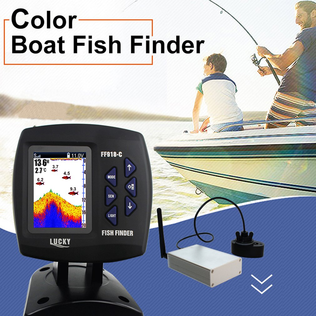 GLÜCK FF918-CWLS Tragbare Wasserdichte Boot Fisch Finder mit Farbigen Bildschirm Display Sonar Sensor 300 Mt Fernbedienung