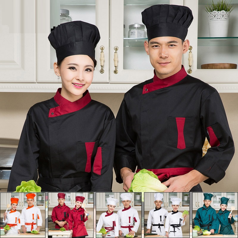 (10set-Hat&Shirt&Apron) Italian Chef's Clothes West Pastry Long-sleeve Work Uniforms French Restaurant Overalls Catering Stuff