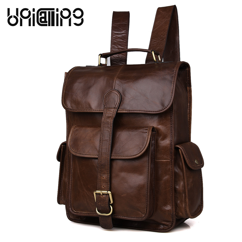 UniCalling Fashion Brand Genuine Leather men laptop backpack Retro cow leather backpack men large capacity backpack цены