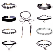 9 PCS Women Girls Ladies Lace Flower Sexy Bohemia Black Neck Choker Necklace Jewelry