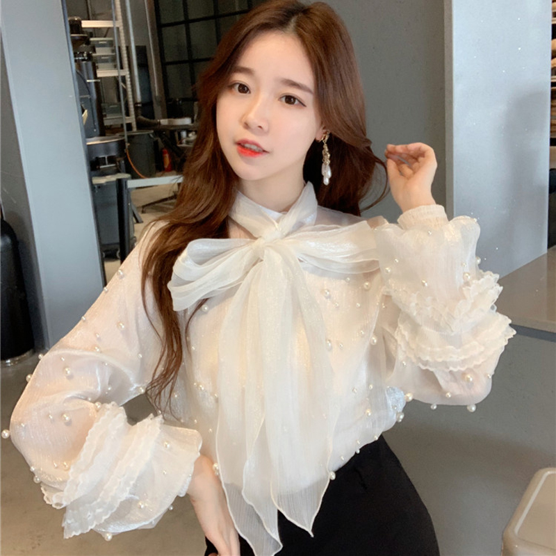 Vintage 2 Pieces Set Mesh Beading Bow   Blouse     Shirt   Women See Through Lace Up Chiffon Female Tops Casual blusas 2019
