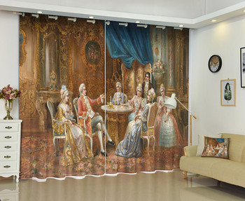 French Palace Painting Window Curtain For Living Room