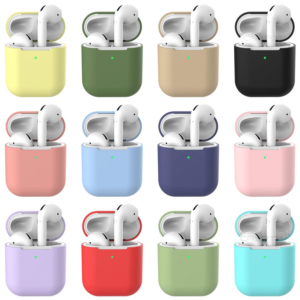 Soft Silicone Case For Apple Airpods 2 Shockproof Earphone Protective Case Cover Waterproof Headset Accessories