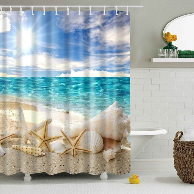 CHARMHOME Beach Starfish Shower Curtain Seashell Polyester Fabric Ocean Blue Sky Sunshine Waterproof Bathroom Curtains