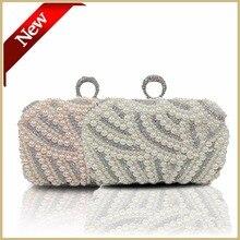 Handgemachten Perle Kristall Ring Clutch Damen Frauen Weiß Perlen Hochzeit Tasche und Evenink Tasche Kostenloser Versand Rosa Handtasche 06099