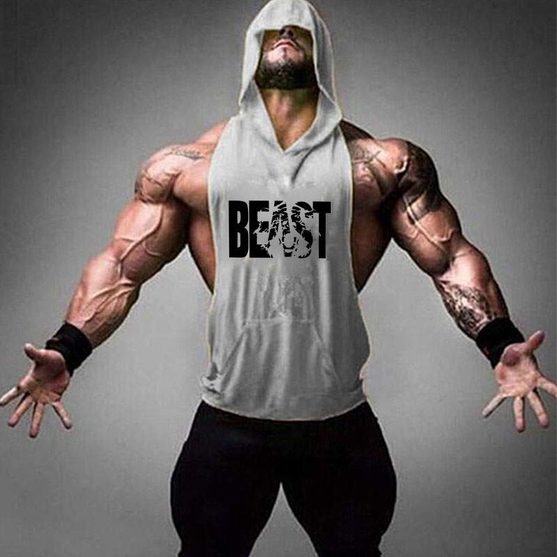 Muscle Mens Gym Sports Sleeveless Hooded Vest Tank Tops Fitness Running Clothes Loose training Tops Cotton T-Shirts