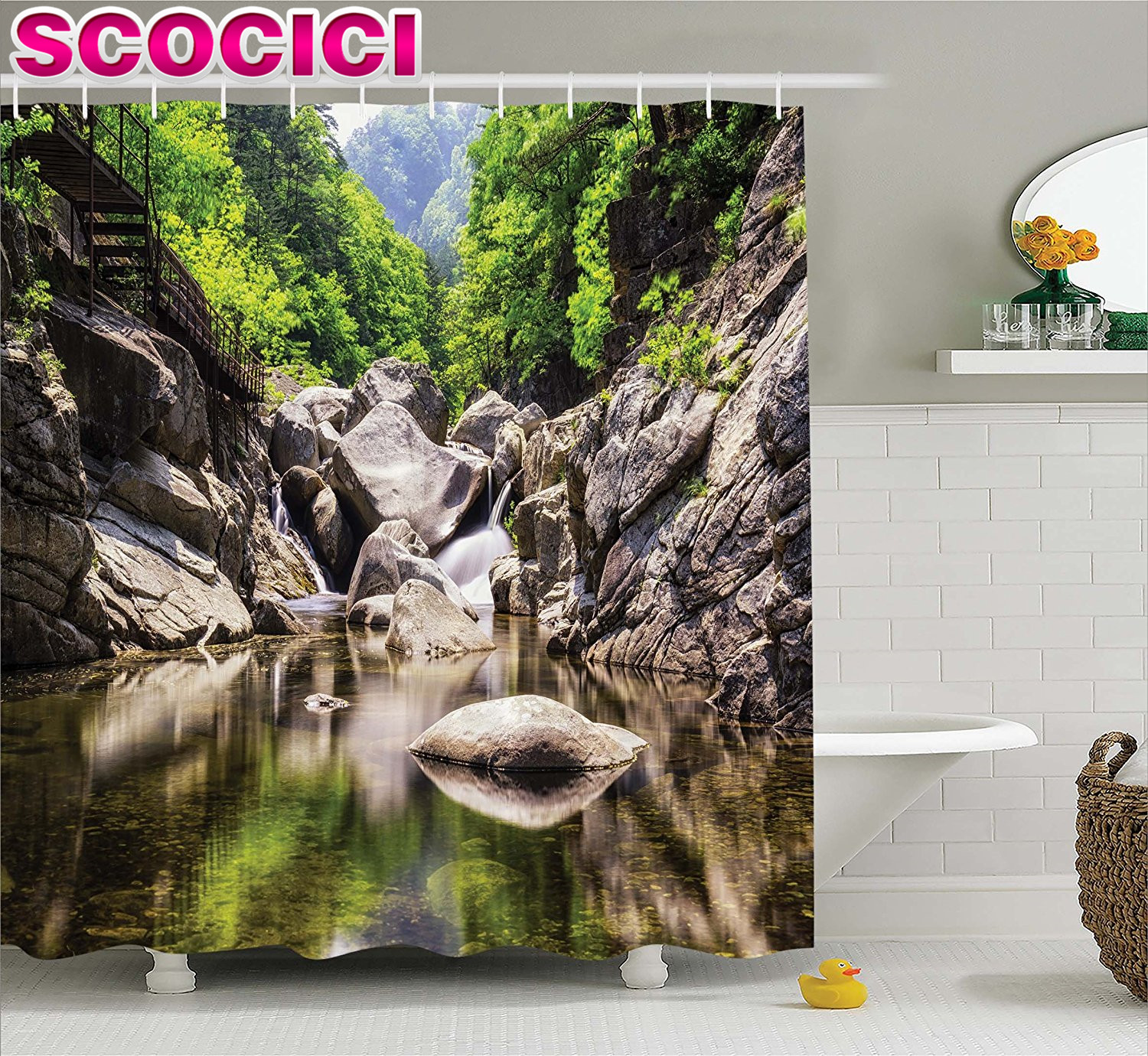 Rainforest shower curtain - National Parks Home Decor Shower Curtain Rainforest Waterfall Scenery With Rocks In The River Nature Print