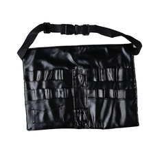 Women Professional Cosmetic Bag Solid Black Leather Beauty Makeup Brush Aprons Bags Carrying Straps Bag Sac Maquillage #7117