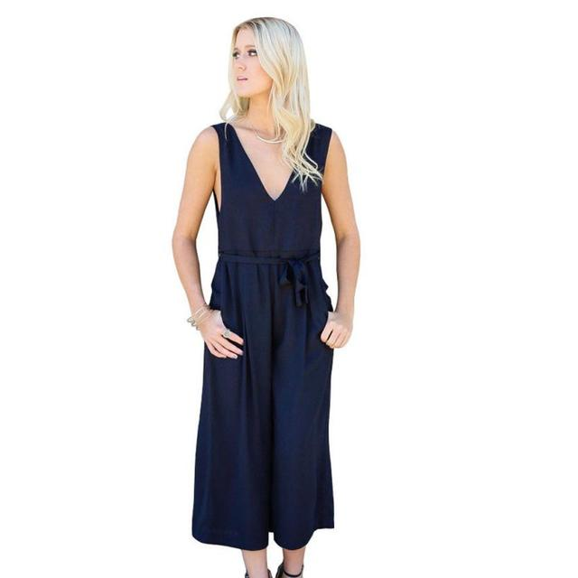 Amazing Quality  Women Sexy Sleeveless Hollow Out V Neck  Jumpsuit  Pant  Eueopean and American style combinaison femme summer
