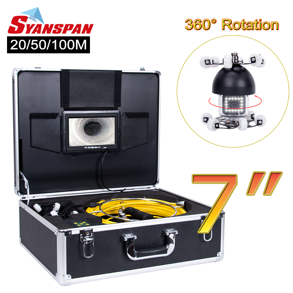 SYANSPAN 7 caméra vidéo d'inspection de tuyau de moniteur, système industriel d'endoscope de canalisation d'égout de Drain de 1000TVL Rotation de 360 degrés