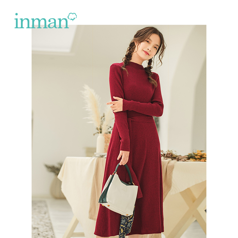 INMAN Autumn Winter Female Elegant Fit Slim Waist Long Sleeve Woman Knitting Dress