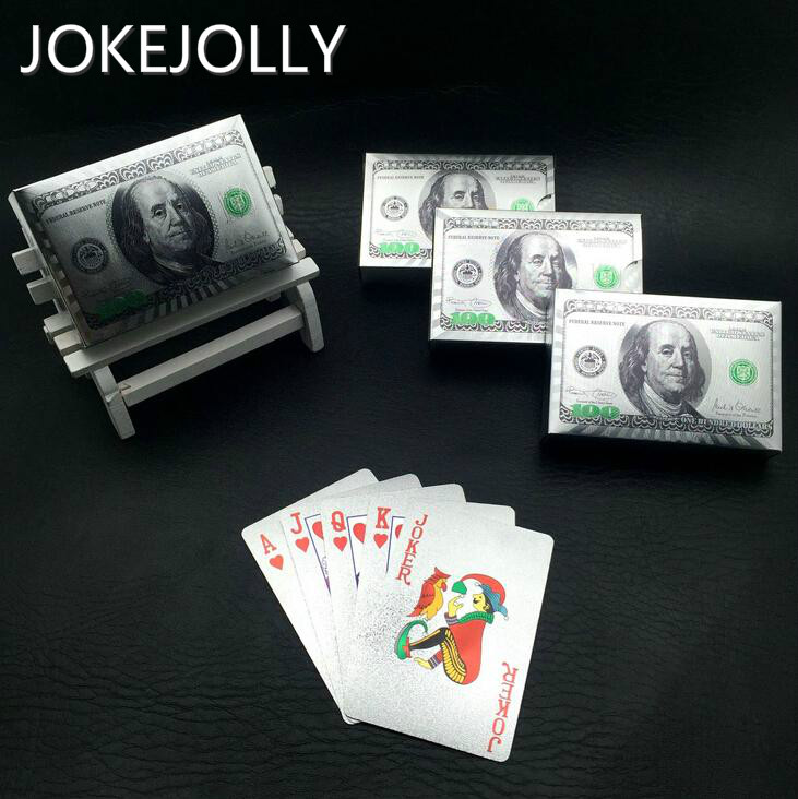 US Dollar Design Silver Poker Plastic Was