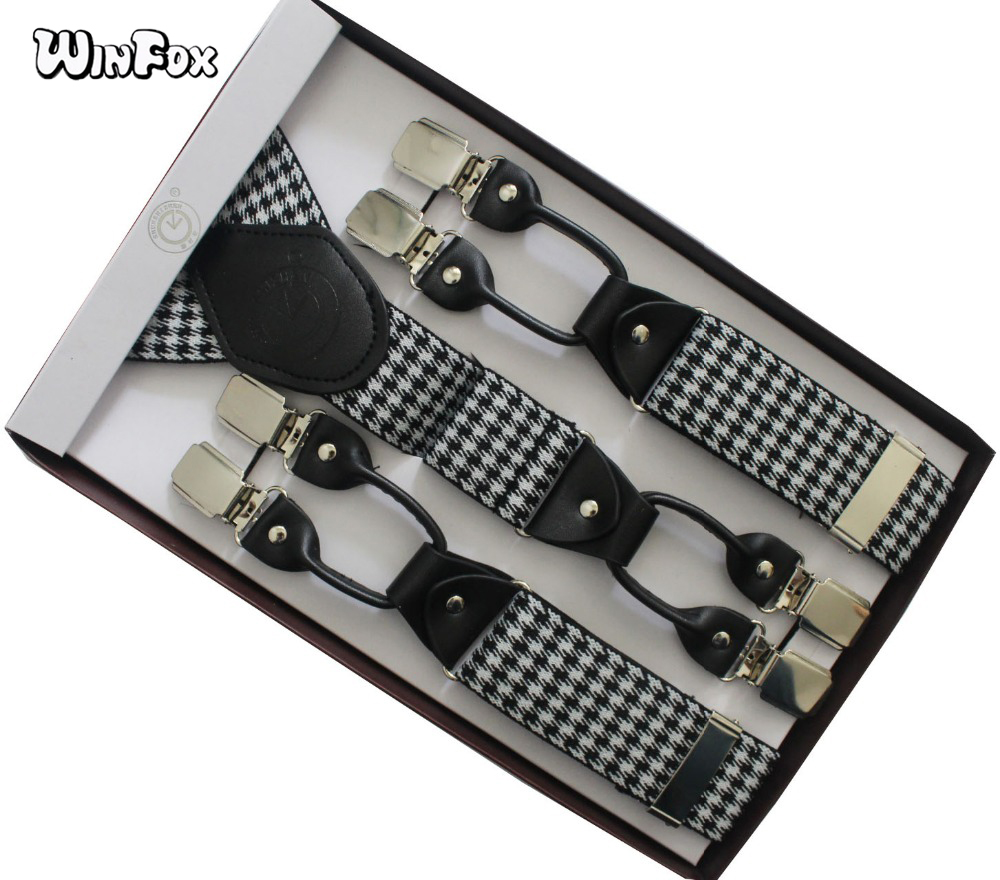Winfox Vintage Male Suspenders Leather Men Houndstooth 3.5cm Wide Elastic Solid Pants Braces Adult Suspender 6 Clip-on