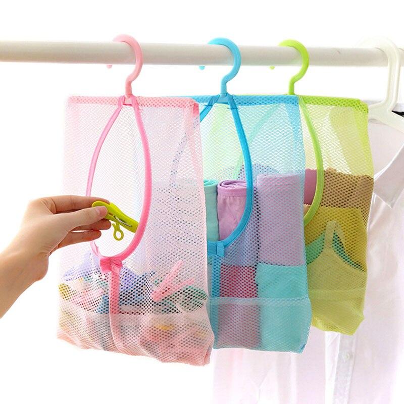Polyester Mesh Hanging Bag Clothing Toy Organizer Multi-purpose Waterprool Bag Storage Sundries Pouch For Closet Rack Hanger
