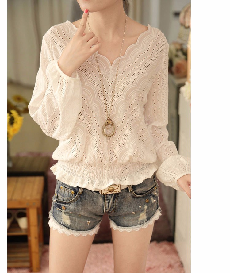 Blusas Femininas 2016 Spring Autumn Women Fashion Plus Size Hollow out Lace Blouse Long Sleeve Sexy Loose White Tops Shirt A602 f