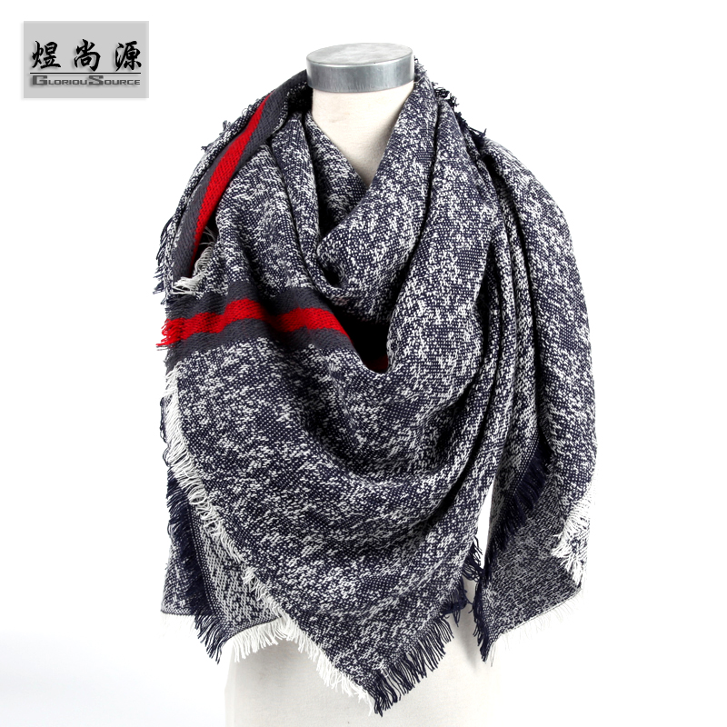 Top Quality Women Fashion Winter Scarves Blankets Soft Cashmere Female Scarf Warm Square Stripe Shawl Wraps Multicolor SC0008