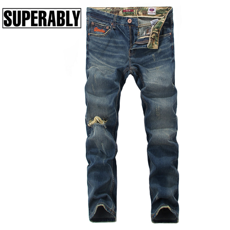 Blue Color Denim Men Jeans Superably Brand Destroyed Ripped Jeans Mens Pants Slim Fit Camouflage Patch Embroidery Biker Jeans 2017 fashion mens patch jeans slim straight denim biker jeans trousers new brand superably jeans ripped dark jeans men u329