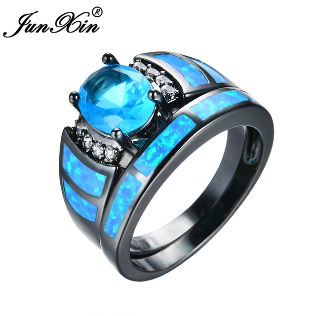 Junxin Fashion Women Water Blue Ring Set Fire Opal Wedding Ring