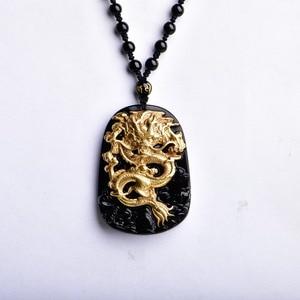 Image 4 - Бесплатная доставка, оптовая продажа, золотой, натуральный, черный обсидиан, резьба, дракон, счастливый амулет, кулон для женщин и мужчин, подвески, модные ювелирные изделия