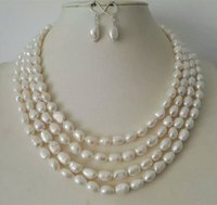 4rows Baroque White Pearl Jewelry Sets Necklace Earrings Pearl Sets For Women Party Jewelry Wedding Birthday Christmas Gift