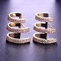 Blucome gótico três linhas semicírculo brincos do parafuso prisioneiro para as mulheres cz simulado diamante ródio banhado a ouro minúsculo acessórios do partido
