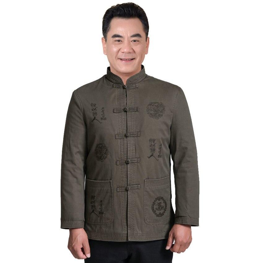 WAEOLSA - store WAEOLSA Chinese Men Traditional Fleece Jackets Winter Autmn Man Thicken Coats Mandarin Collar Mao Suit Jackets Mens Khaki Coats