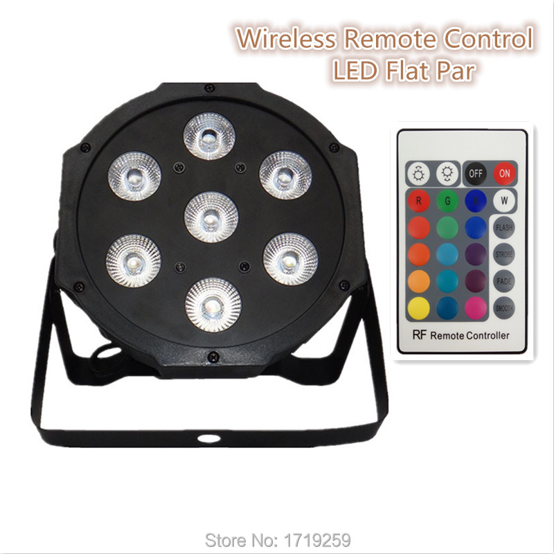 ФОТО Wireless remote control  LED Par 7x12W RGBW 4IN1 LED  Wash Light Stage Uplighting No Noise Remote control  Free shipping