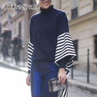 TWOTWINSTYLE Striped Pullover Female Patchwork Flare Sleeve Round Neck Large Size Blue Tops Spring Casual Fashion