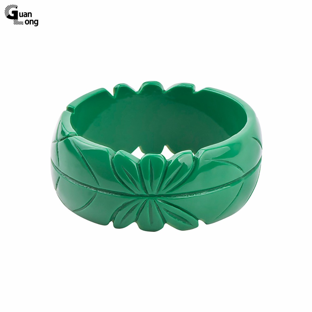 GuanLong Romantic Floral Resin Carved Leaf Bangle Bracelet Jewelry 2017 Collection Femme Bangles Puseiras Jewellery
