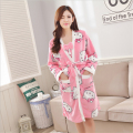 Flannel Autumn winter (Robe+Sling skirt) hello kitty Cartoon pajamas Thickening Coral cashmere Women Home service