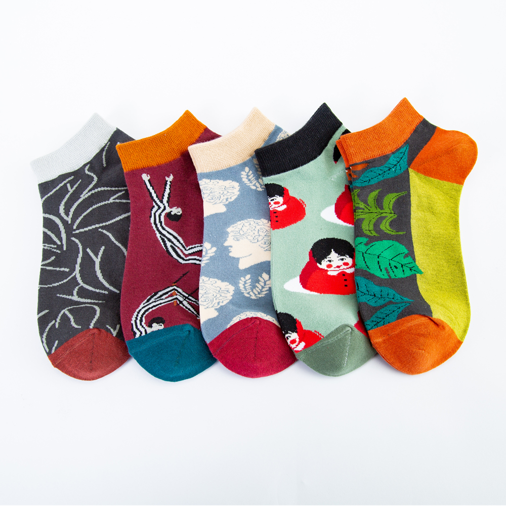 Jhouson 1 Pair Casual Novelty Women Men's Colorful Summer Combed Cotton Fashion Ankle Socks Cool Funny Dress Boat Socks