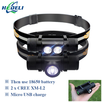Cree Xm L2 Led Headlamp USB Headlight 18650 Rechargeable Battery Torch Head Flashlight Ed Head Lamp