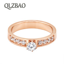 QLZBAO New Brand Delicate Zircon Ring 361L Steel AAA Crystal Rings For Women/Men Classic Wedding Love Jewelry Wholesale(China)
