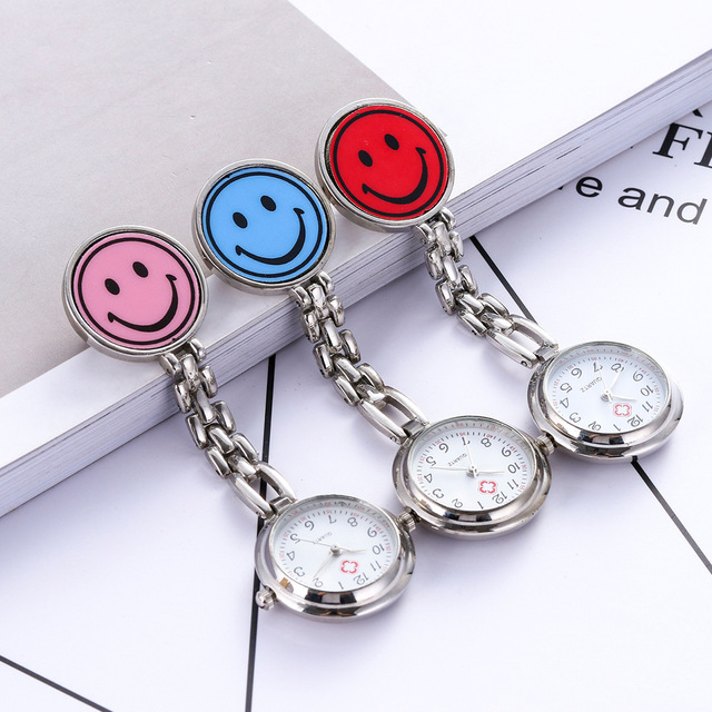 2018 new hot style nurse doctors women girls cute smile face pocket watches hosp