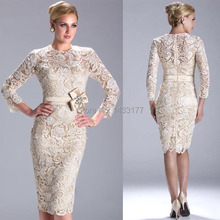 Vintage Long Sleeves Lace Short Knee Length Sheath Prom Evening Dresses Belt M1422