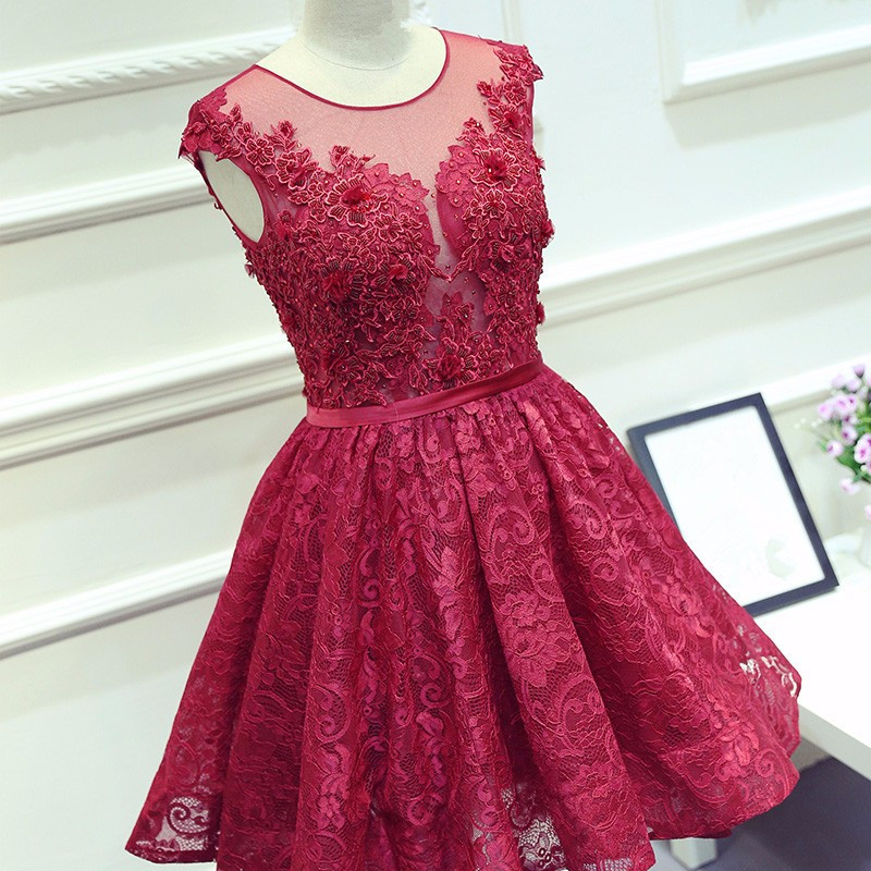 Fashion Short Evening Gown Appliques Red Lace A Line Beaded Girl Wedding Party Dress Robe de