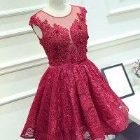 Модные короткие вечернее платье Аппликации Красный Кружева линия бисером для девочек Свадебная вечеринка платье халат de Soiree