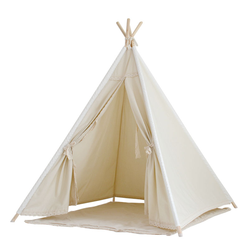 Natural Unbleached Cotton Canvas Teepee Kids Teepee Play Tent Tipi Tent with Lace Trim Wigwam lace trim tee with shorts