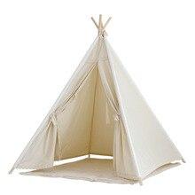 Природные неотбеленного хлопка холст вигвама дети вигвама играть палатки типи палатка с кружевной отделкой вигвам