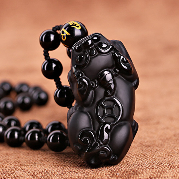 Lucky couples necklaces Pure manual sculpture black god beast pixou pendant tie in black beads charm men's and women's style
