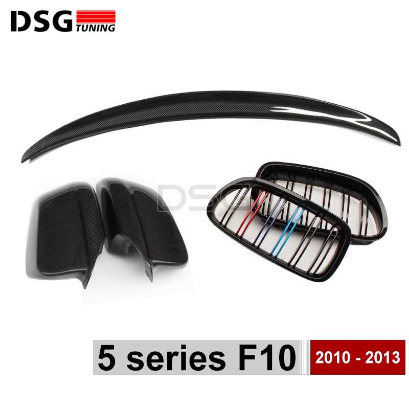 F10 Carbon Fiber Rear Spoiler Wing & Side Door Mirror Cover & Front Bumper Kidney Grille Mesh For BMW 5 Series F10 / F11 3pcs set m color front grill bumper cover trim decoration strip sticker for bmw 5 series f10 f11 2011 2013 f10 f18 2014 2015