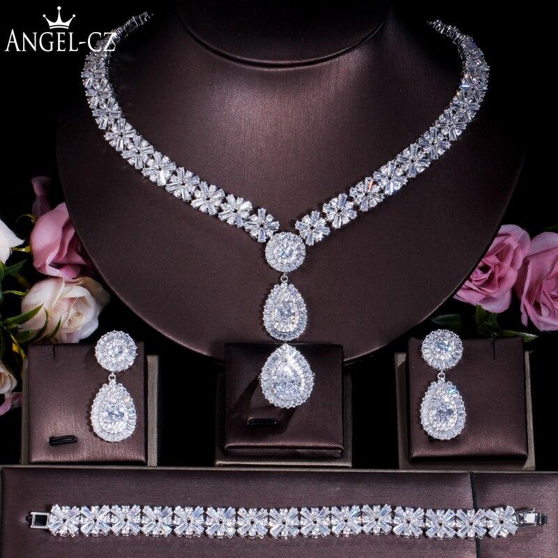 ANGELCZ haute qualité CZ collier boucles d'oreilles Bracelet anneau 4 pièces grands ensembles de bijoux pour de luxe de mariage accessoires de fête de mariée AJ124